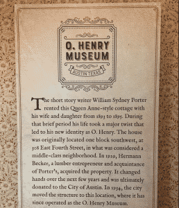 O Henry Museum sign