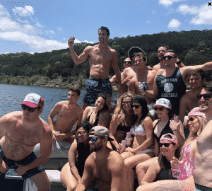 Group of guys partying on the boat