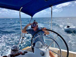 Snorkel and sail boat