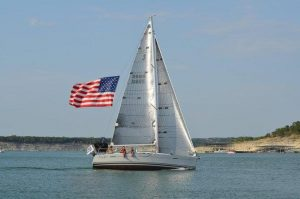 Sail Boat with American Flag