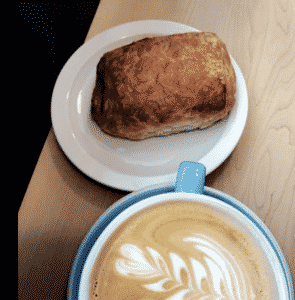 Latte and bread