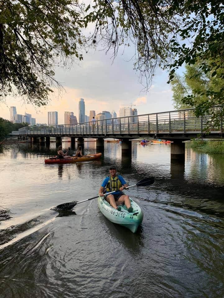 Guy in Kayak in Austin