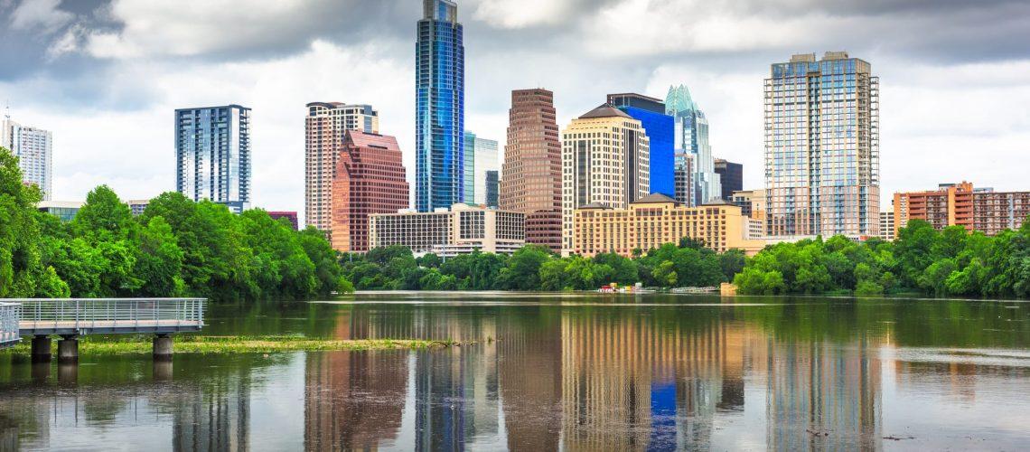 Austin, Texas, USA downtown skyline on the Colorado River